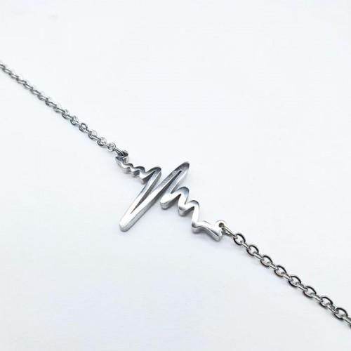 Браслет цепочка Кардиограмма из нержавеющей ювелирной стали на руку