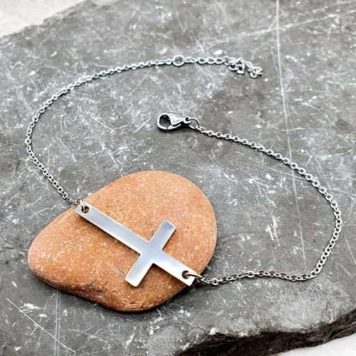 Браслет цепочка из медицинской стали на ногу Крест