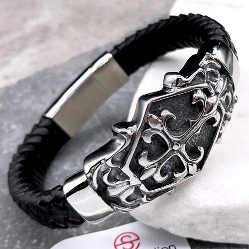 Мужской браслет из плетеной кожи Камелот