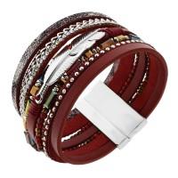 """Широкий женский браслет-напульсник """"Перо"""" из натуральной кожи красного цвета"""