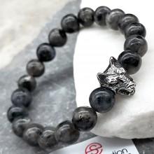 Эластичный браслет-бусы из натурального камня Голова волка лабрадор