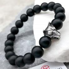 Эластичный браслет-бусы из натурального камня Голова волка 1 см