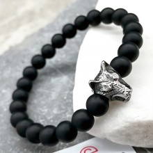 Эластичный браслет-бусы из натурального камня Голова волка 8 мм