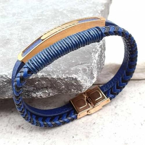 Браслет из натуральной синей кожи Кайрат