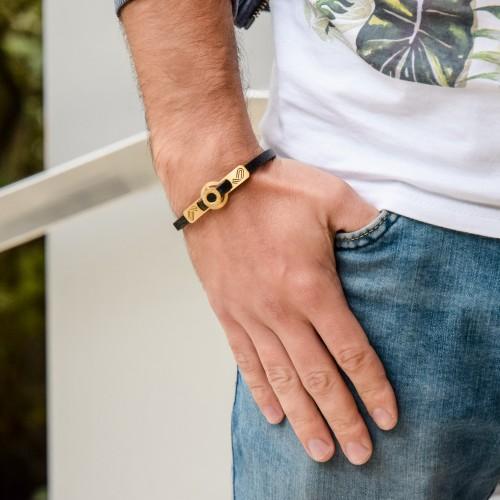 Кожаный браслет на руку для мужчин Фантом