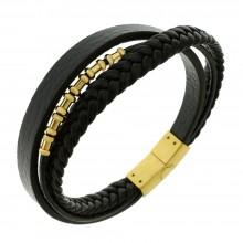 Элегантный кожаный браслет с модной вставкой