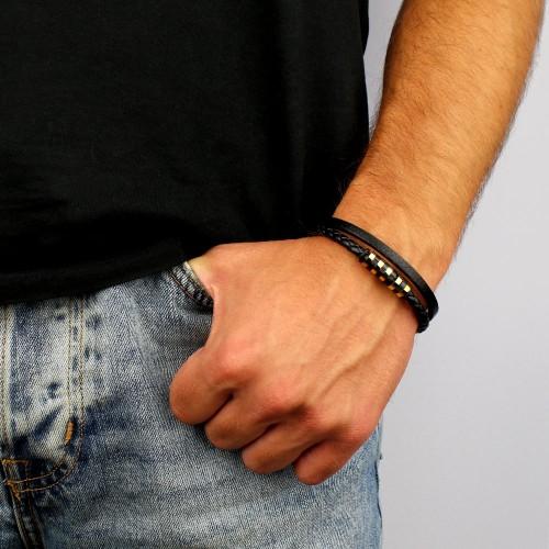 Двойной кожаный мужской браслет с накладками из колечек