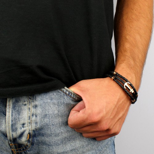 мужской браслет из плетеной и гладкой кожи якорь купить в интернет