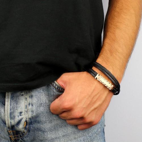мужской браслет из кожи в два оборота с золотой вставкой купить в