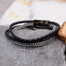 Кожаный браслет на руку с элементами из хирургической стали Анзур