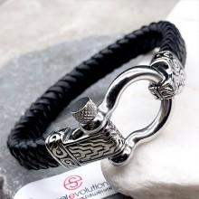 Мужские кожаные браслеты Цвет изделия Черный купить №6