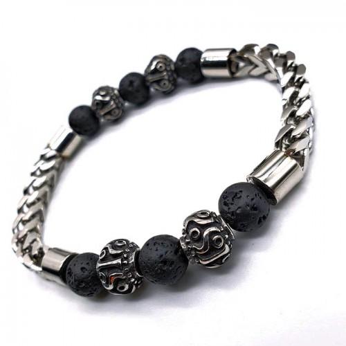 Мужской браслет-бусы из лавового камня и стали business casual