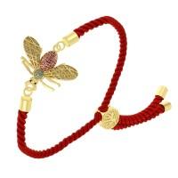"""Тонкий женский браслет-фенечка """"Золотая муха"""" из витого красного шнура"""