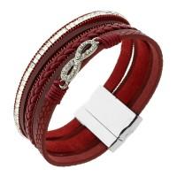 """Красный женский браслет-напульсник с камешками """"Бесконечность"""" из натуральной кожи"""