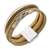 """Кожаный женский браслет-напульсник с камешками """"Бесконечность"""" светло-коричневого цвета"""