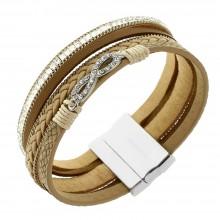 Кожаный женский браслет-напульсник с камешками Бесконечность светло-коричневого цвета