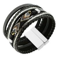 """Оригинальный женский браслет-напульсник """"Этно"""" из натуральной кожи темно-коричневого цвета"""