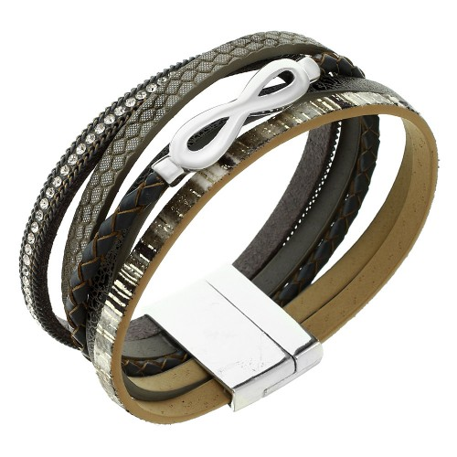Повседневный женский браслет-напульсник Бесконечность из натуральной кожи серого цвета