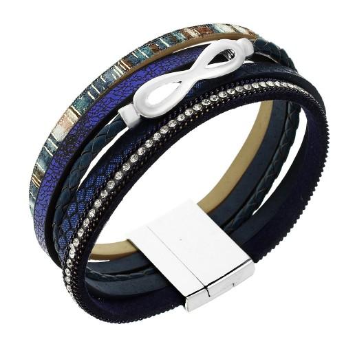Стильный женский браслет-напульсник Бесконечность из натуральной кожи темно-синего цвета