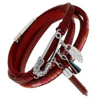 """Стильный женский браслет """"Булавка"""" из натуральной кожи красного цвета"""