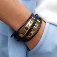 Красивый женский браслет из кожи с металлическими вставками бижутерия