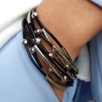 Модный женский браслет из текстильного шнура бижутерия