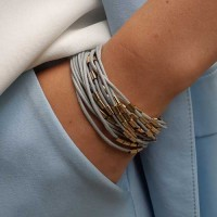 Стильный женский браслет из текстильных шнуров серого цвета бижутерия