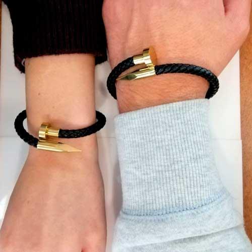 Кожаный браслет плетеный Гвоздь для пары 22 см в двух цветах
