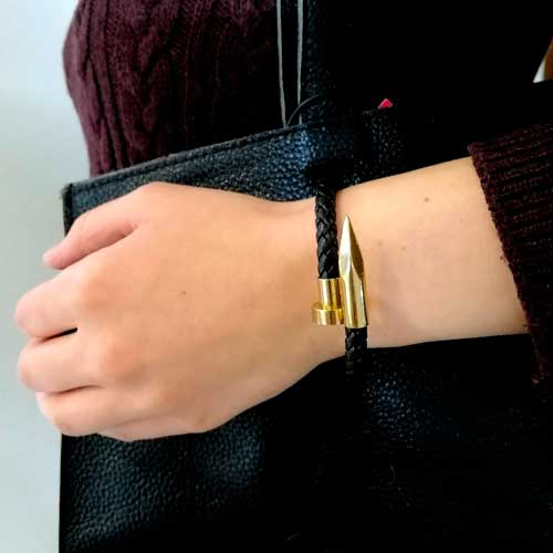 Кожаный браслет плетеный Гвоздь для пары 19 см