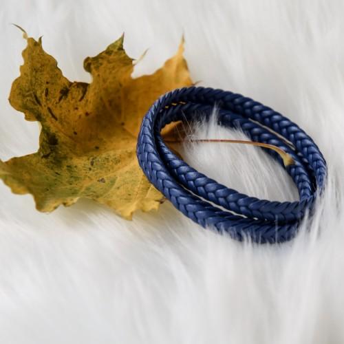 Кожаный браслет унисекс плетеный Косичка