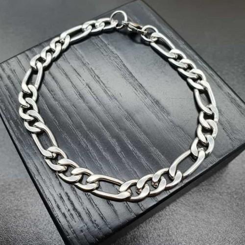 Мужской браслет из стали в виде цепочки с плетением фигаро
