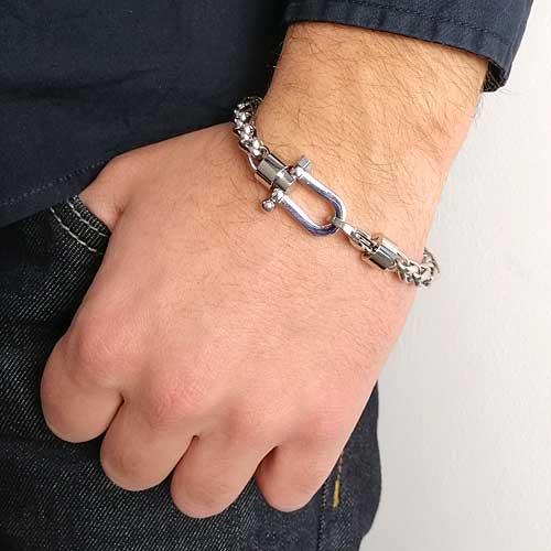 Мужской браслет из стали в виде цепочки с плетением колосок