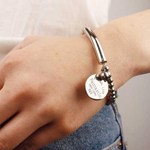 Эластичный браслет-бусы из стали женский Фантастика