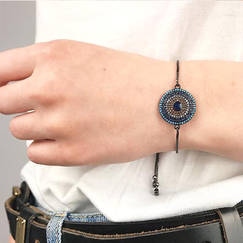 Браслет цепочка Черная мандала на руку женский бижутерия