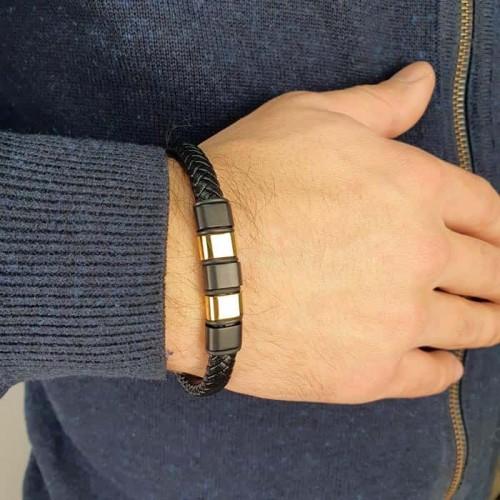 Кожаный браслет-плетенка с пластиной под гравировку Аль Капоне