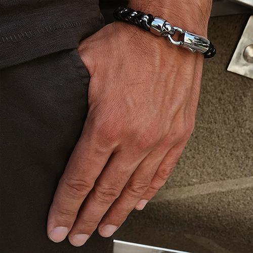 Мужской браслет из стали и кожи Гадара