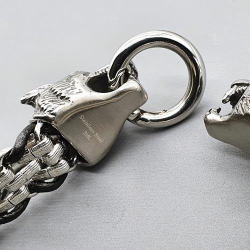 Мужской браслет из стали и кожи Вожак стаи