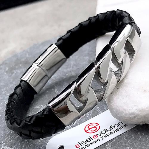 Браслет с магнитной застежкой кожаный smart casual