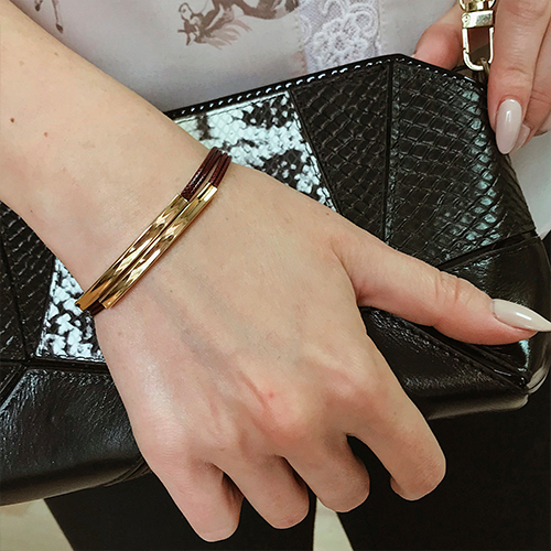 Браслет из текстильных шнуров Равенна коричневый женский бижутерия
