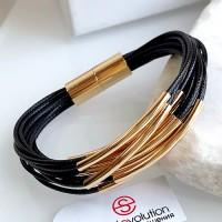 Браслет из текстильных шнуров Сеона черный женский бижутерия