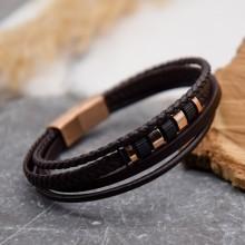 Мужские кожаные браслеты Цвет изделия Коричневый купить №22