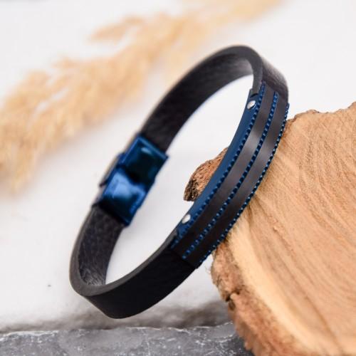 Кожаный браслет синий Саргон