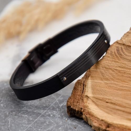 Кожаный мужской браслет черный медицинская сталь Сайхан