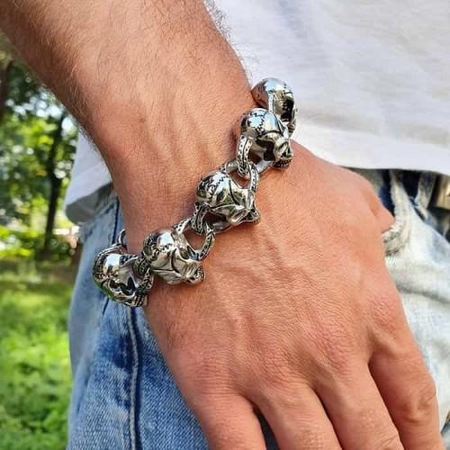 Звеньевой браслет с черепами из стали для мужчин