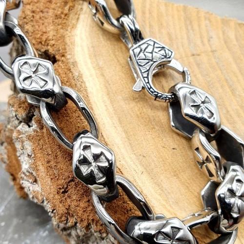 Байкерский стальной браслет с мальтийскими крестами