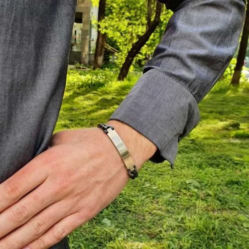 Парные стальные браслеты под гравировку для мужчин и женщин