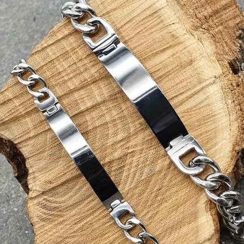 Браслеты стальные в виде цепочки под лазерную гравировку в ассортименте