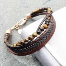 Модный браслет из коричневой кожи унисекс