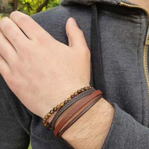 Модный браслет из коричневой кожи для мужчин