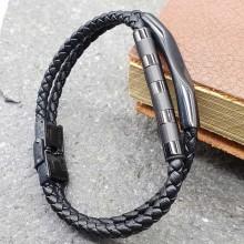Мужские кожаные браслеты Цвет изделия Черный купить №24